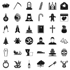 Temple icons set. Simple style of 36 temple vector icons for web isolated on white background
