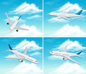 A Set of Airplane on Sky
