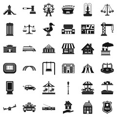 City icons set. Simple style of 36 city vector icons for web isolated on white background