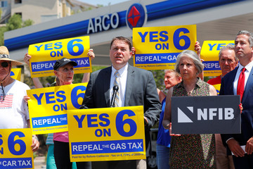 Gas tax organizer Carl DeMaio speaks on California Proposition 6 during an announcement from an Arco Gas station in San Diego
