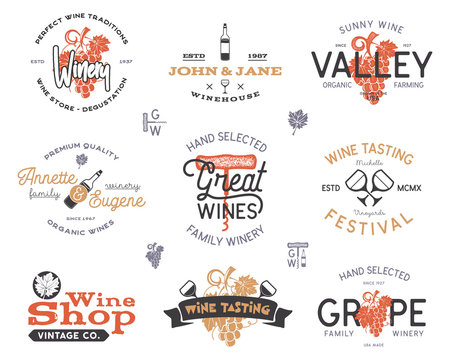 Wine logos, labels set. Winery, wine shop, vineyards badges collection. Retro colors. Typographic hand drawn design illustration. Stock emblems and icons isolated on white background
