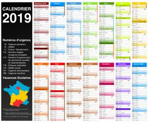 Calendrier 2019 pour entreprise avec logo sur 14 mois multicaque - modifiable - texte arial