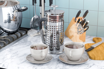 French Press Coffee or Tea Maker with cups of tea or coffee on the kitchen table. 3D rendering