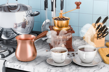 Manual coffee grinder with cups of coffee and copper turkish coffee pot on the kitchen table. 3D rendering