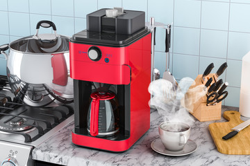 Modern coffeemaker or coffee machine on the kitchen table. 3D rendering