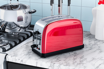 Toaster on the kitchen table. 3D rendering