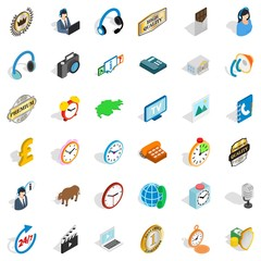 Office icons set. Isometric style of 36 office vector icons for web isolated on white background
