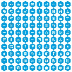 100 travel icons set in blue hexagon isolated vector illustration