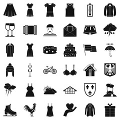 Clothing icons set. Simple style of 36 clothing vector icons for web isolated on white background