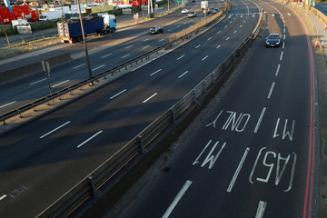 World Cup - The junction of the A406 and the M1 is seen during the second half of the World Cup semi-final match between England and Croatia