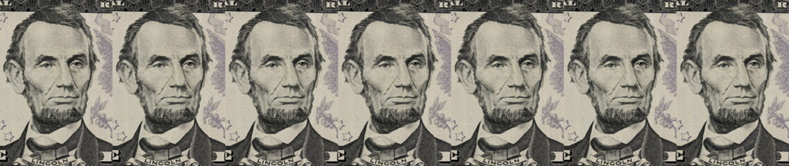 A dollar banknotes pattern. President portrait. Background for business and finance. Money concept