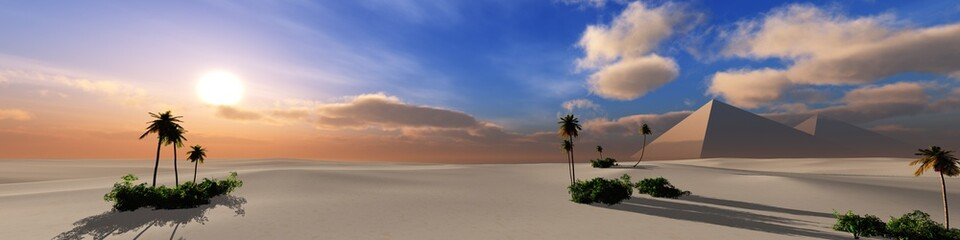 Panorama of the desert of sand at sunset. Pyramids in the desert at sunset.