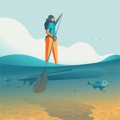 paddle boarding girl
