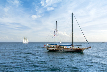 Didim, Turkey, 22 October 2010: Bodrum Cup Races, Gulet Wooden Sailboats