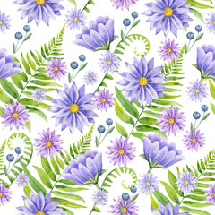 .Watercolor hand painted seamless pattern of wildflowers and green branches.