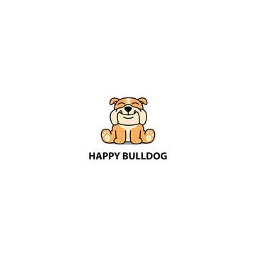 Happy bulldog puppy sitting cartoon icon, logo design, vector illustration