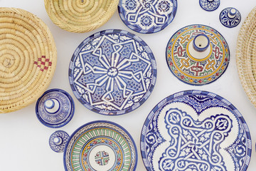traditional Moroccan plates as wall decoration