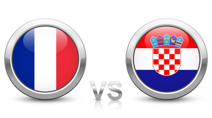France vs. Croatia. 2018 tournament. Shiny metallic icons buttons with national flags isolated on white background.
