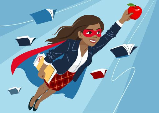 Young woman in cape and mask flying through air in superhero pose, looking confident and happy, holding an apple and folder with papers, open books around. Teacher, student, education learning concept