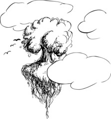 Sketch of a tree in clouds by jziprian