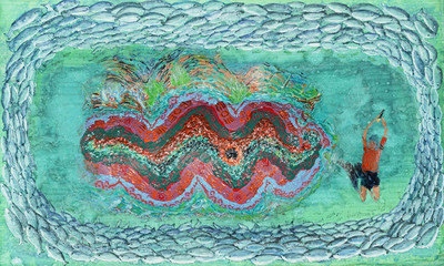 A giant tridacna clam and a breath-holding diver who is astonished to see it. A hand drawn mixed media image