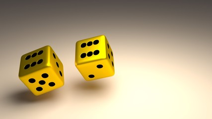 Two Gold Dice 3D Illustration