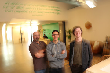 Thrive Market CEO Nick Green poses with Nolan Green, Chief of Staff and Mike Hacaga, Meat and Seafood Product Innovator at the company's offices in Marina Del Rey