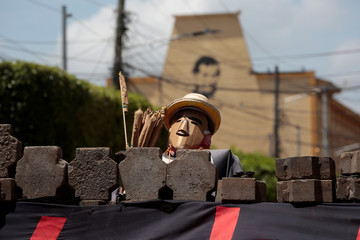 A mannequin is seen behind a barricade in the indigenous community of Monimbo in Masaya