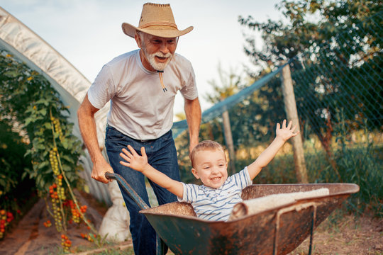 Happy grandfather and his grandson having fun together