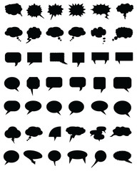 Black bubble speech set on a white  background