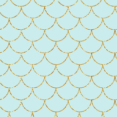 Mermaid or fish gold glitter scales seamless pattern. Fashion print. Vector illustration.