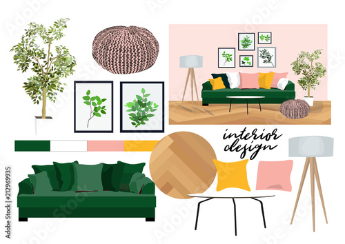 Vector Interior Design Illustration. Furniture Collection Elements. Mood  Board Of Interior Design. Material