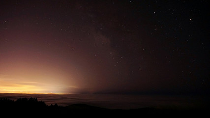 Starlight and the glow of the city. An evening on top of Mount Tamalpais