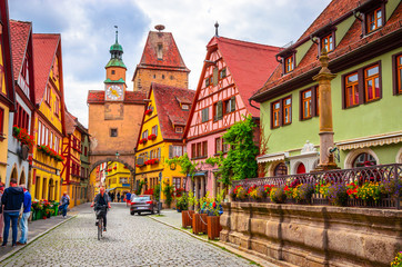 Poster Europese Plekken Beautiful streets in Rothenburg ob der Tauber with traditional German houses, Bavaria, Germany