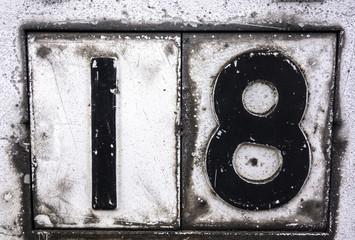 Written Wording in Distressed State Typography Found Number Eighteen 10