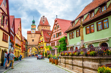 Beautiful streets in Rothenburg ob der Tauber with traditional German houses, Bavaria, Germany Wall mural
