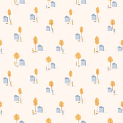 Vector seamless pattern of walking people with dogs among yellow trees and houses. Autumn mood.