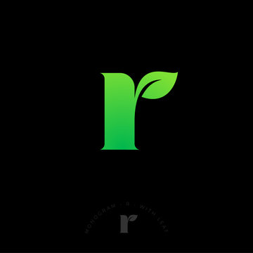 R letter, UI logo. Abstract R letter with leaf. Nature, spa or eco logo. Organic emblem.