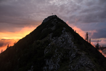 Glowing mountains in the sunset at the Tegernseer Hütte in Bavaria, Germany