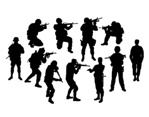 Soldier and Police Silhouettes, sign and symbol, art vector design
