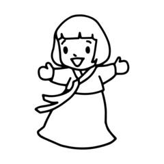 Little girl cartoon illustration isolated on white background for children color book