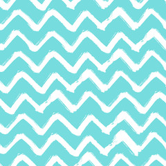 Chevron Zigzag Paint Brush Strokes Seamless pattern. Vector Abstract Grunge blue and white zigzag background