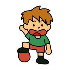 Sport Boy cartoon illustration isolated on white background for children color book