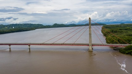 Beautiful aerial view of the Taiwan friendship bridge in Costa Rica