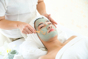 Treatments mask for woman , beauty skincare and healthcare in spa salon