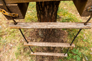 A rope ladder on a tree