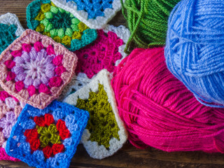 colorful wool and granny square