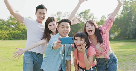 people selfie happily