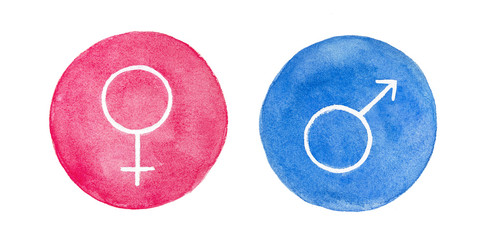 Watercolour set of female and male gender symbols. Round shape, traditional Mars and Venus icons. Hand drawn water color sketchy painting on white background, isolated clip art elements for design.
