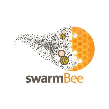 swarm bee logo vector element. bee vector template